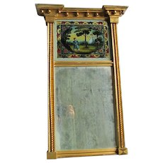 Lovely c1840s Gilt Pier Mirror with Reverse Painting of Children