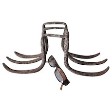 Set of 3 Old Hand Forged Wrought Iron Double Hooks
