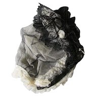 Lovely c1880s Ladies Lace & Ribbon Bonnet, White & Black Netting