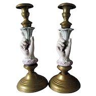 Whimsical Antique c1880s Ladies Hand Candlesticks, Porcelain & Brass