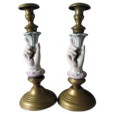 Whimsical Antique c1880s Ladies Hand Candlesticks, Porcelain & Brass