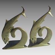 Antique Bronze Art Nouveau Dolphin, Fish Bookends, Desk Library Accessory
