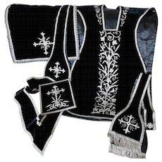 Fine Vintage Catholic Vestment Set, Velvet, Silver Metallic Lace, Boulle