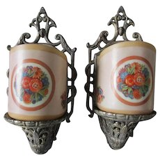 Pair c1920s Art Deco Sconces by Lightolier, Original Slip Shades