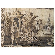 Early Antique Hand Woven Middle Eastern Tapestry with Mosque