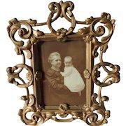 Antique Victorian, Edwardian Picture Frame, Cast Iron Mirror Frame