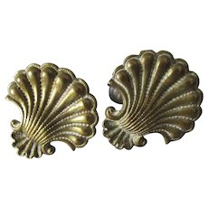 Pretty Pair 19thC Cast Brass Sea Shell Curtain Tiebacks, Architectural Hooks