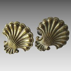 Pretty Pair 19thC Cast Brass Sea Shell Curtain Tiebacks, Architectural Hooks