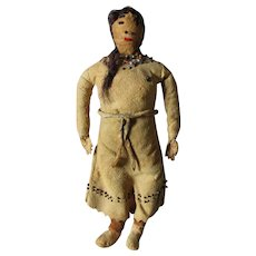 Antique Native American Indian Leather Doll with Horse Hair, Beaded