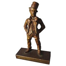 Antique Bronze Sculpture of a Dapper Gentleman with Top Hat