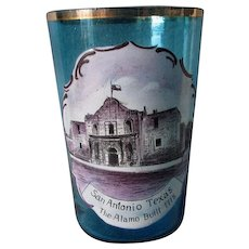 c1880s Enameled Glass, The Alamo, San Antonio, Texas Souvenir