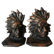 Pair Bronze Native American Indian Chief Bookends, Office Library Accessory