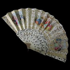 Beautiful c1870s French Ladies Fan with Gilt Gold Highlights, Hand Painted