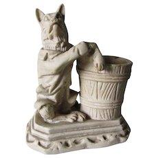 Whimsical c1900 Match Safe, Fox or Dog in Waist Coat