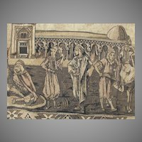 Antique Hand Woven Middle Eastern Tapestry with Mosque, Fine Detail