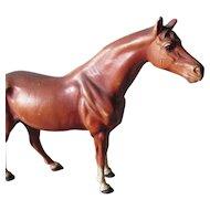 Vintage Hubley Cast Iron Figural Horse Doorstop in Original Paint