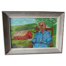 1960s Outsider Art Oil Painting, Retrospect Clyde Rugor
