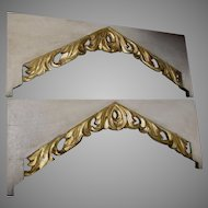 Pair Hand Carved Architectural Elements with Gilt Gold Scrolls from a Church