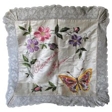 Vintage French Silk, Lace, Beaded Pillow with Butterfly, Flowers