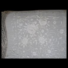 Lovely Art Deco Embroidered Silk Crepe Shawl with Long Fringe, Roses