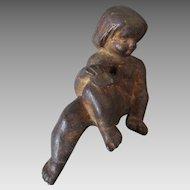 Antique Cast Iron Child with Mask Architectural Element, Garden Decor