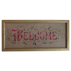 Antique c1880s Victorian Motto Sampler, Welcome, Punched Paper