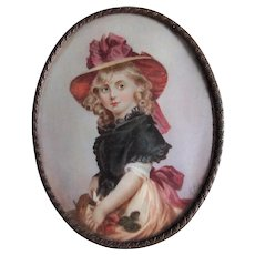 Antique French Hand Painted Miniature Portrait, Little Girl, Signed