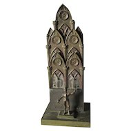 Antique English Gothic Letter Holder with Knight, Desk Accessory