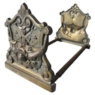 Lovely Art Nouveau Desk Top Expanding Bookends with Roses