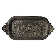 Lovely Antique c1890s Victorian Bronze Vanity, Desk Tray with Cherub Angels