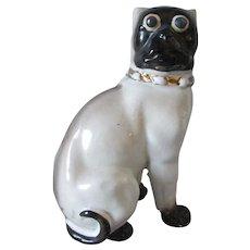 Antique 19thC Black Face Pug Dog Figurine, Victorian, German