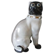 Antique 19thC Black Face Pug Dog Figurine, Victorian, German