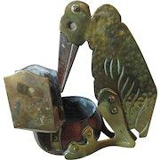Antique Arts & Crafts, Mixed Metal Vulture Cigar Cutter & Match Safe