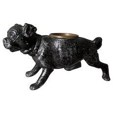 Antique Pug Dog Match Safe, Toothpick Holder