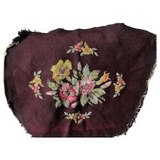 Antique Floral Petit Point & Needlepoint Panel, Upholstery Chair Seat