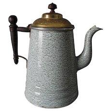 Rare Antique Agateware Graniteware Coffee Pot, Green with Brass Lid
