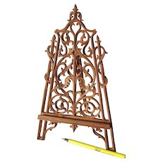 19thC Hand Carved Swiss, Black Forest Easel Stand, Picture Frame, Display