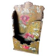 Lovely Antique Victorian Paper Mache Letter Holder Butterflies & Roses