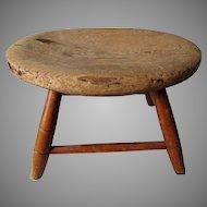 Wonderful Primitive Windsor Style Footstool, Great Old Wear