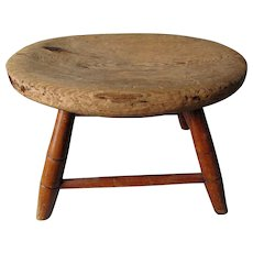 Wonderful Primitive Windsor Style Footstool, Great Old Wear