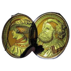 Pair Antique Stained Glass Window Panels with Renaissance Couple