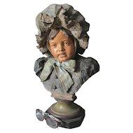 Lovely Antique 19thC European Terra Cotta Bust of a Little Girl