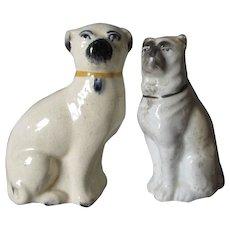 2 Antique Staffordshire, England Pug Dog Figurines