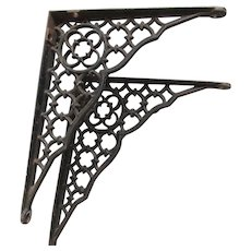 Antique Victorian Gothic Cast Iron Architectural Brackets