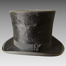 Antique c1870s Gentleman's Top Hat, Silk Plush Millinery, Victorian Fashion