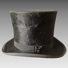 Antique c1870s Gentleman's Top Hat, Silk Plush Millinery, Victorian Fashion