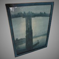 c1923 James Whistler Print, Nocturne, Blue and Gold, Old Battersea Bridge