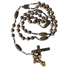 Christian Rosary Beads with French Stanhope Cross Depicting Christ, Jesus