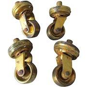 Rare Set of 4 Circa 1878 Gilt Brass Furniture Casters, Victorian