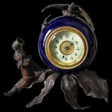 Antique French Clock with Cherub Angel, Bee & a Bird